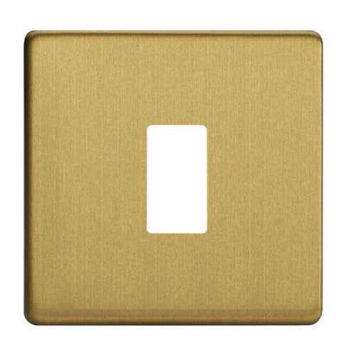 Varilight XDBPGY1S Screwless Brushed Brass 1 Gang PowerGrid Plate (Single Plate)